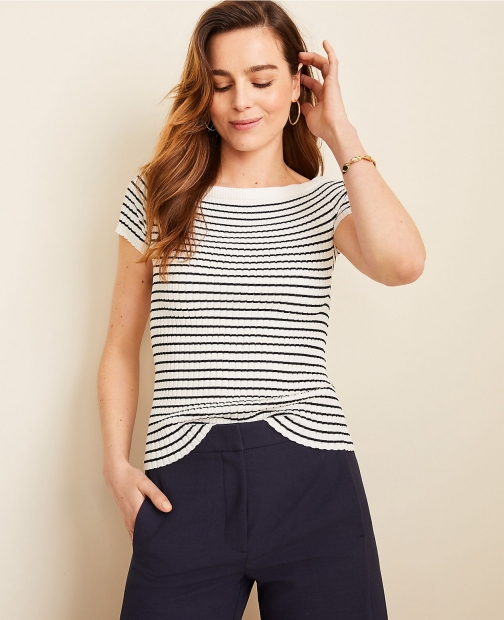 Ann Taylor Stripe Ribbed Off The Shoulder Sweater Sweatshirt