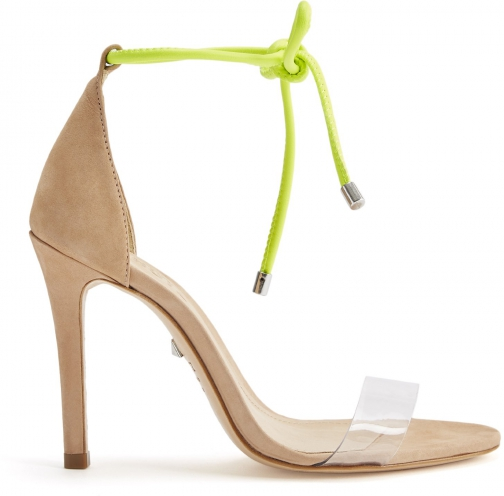 Schutz Shoes Monique Sandal - 6.5 Honey Beige Nubuck & Vinyl Sandals