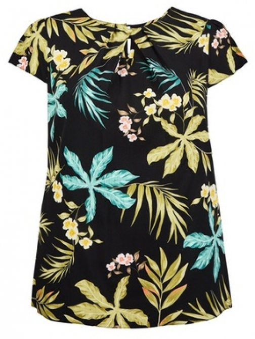 Billie & Blossom Curve Black Palm Print Shell Top