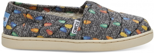 Toms Charcoal Glow The Dark Tree Lights Youth Classics Slip-On Shoes