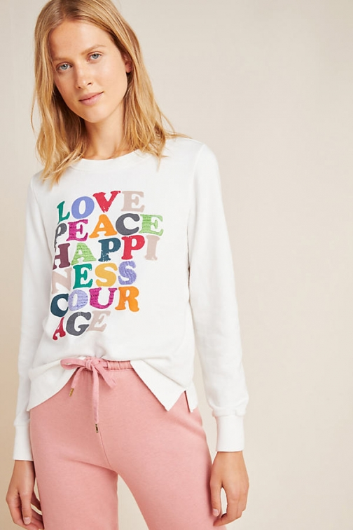 Anthropologie Love Peace Happiness Sweatshirt