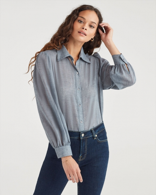 7 For All Mankind Women's Puff Sleeve Button Up Blue Haze Shirt
