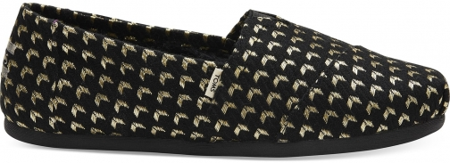 Toms Black And Gold Geo Woven Women's Classics Slip-On Shoes
