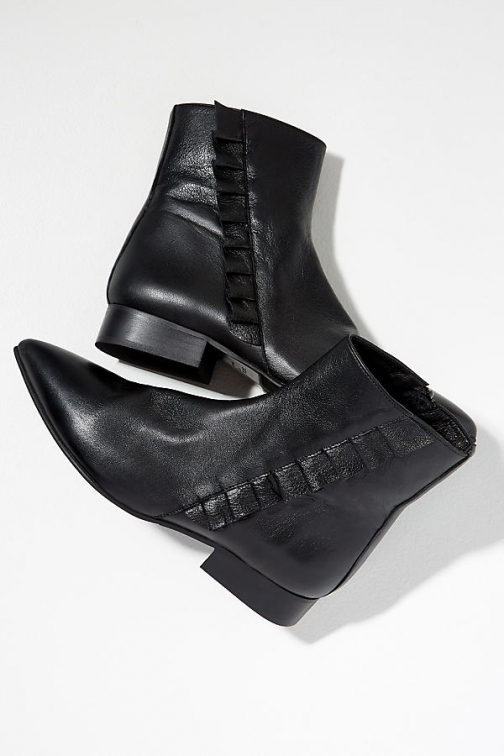 Selected Femme Frilled-Leather Ankle Boot