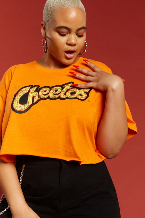 Forever21 Plus Forever 21 Plus Size Cheetos Graphic Cropped Tee , Orange/yellow T-Shirt