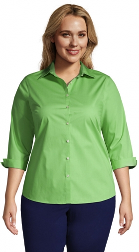 Lands' End Women's Plus Size 3/4 Sleeve Broadcloth - Lands' End - Green - 18W Shirt