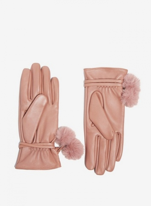 Dorothy Perkins Womens Blush Pom Leather - Pink, Pink Glove