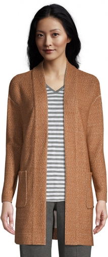 Lands' End Women's Long Sleeve Textured Open - Lands' End - Brown - XS Cardigan
