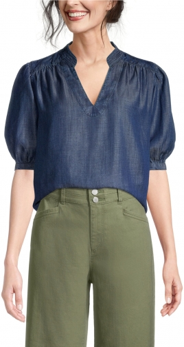 Ann Taylor Factory Chambray V-Neck Top