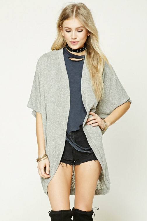 Forever21 Forever 21 Dolman-Sleeve Cocoon , Grey Cardigan