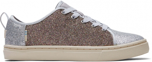 Toms Silver Gold Iridescent Glimmer Youth Lenny Elastic Sneakers Shoes Trainer