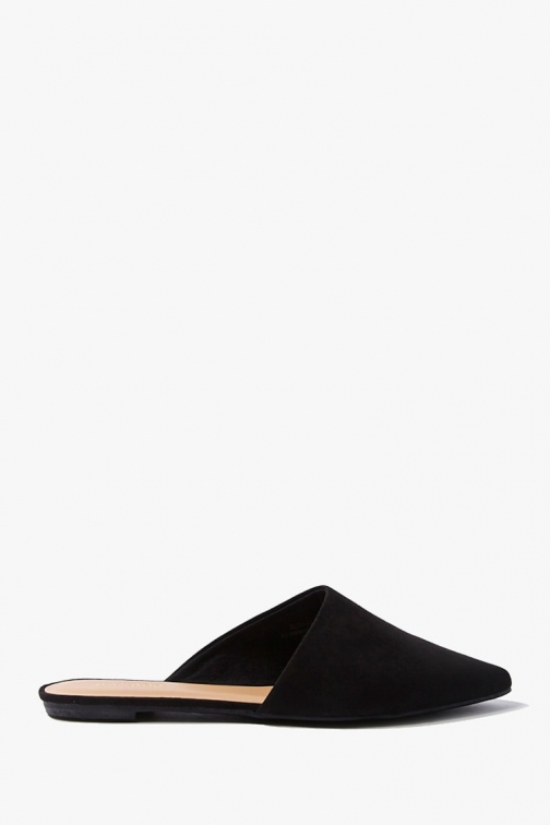 Forever21 Forever 21 Faux Suede Pointed Mules , Black Shoes