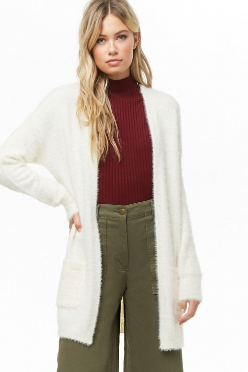 Forever21 Forever 21 Fuzzy Knit , Cream Cardigan