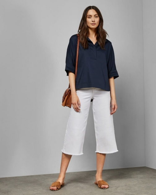 Ted Baker Side Tape Wide Leg Cropped Jeans