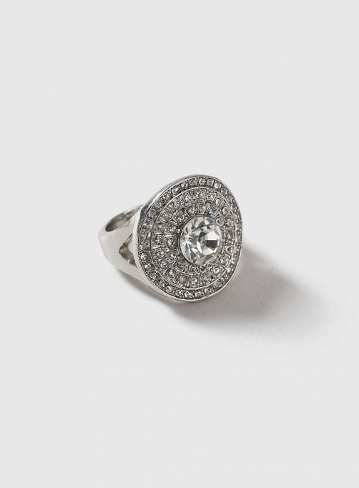 Dorothy Perkins Womens Round Silver Cocktail - Clear Ring