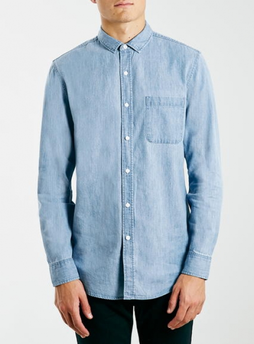 Topman Mens Light Blue Denim Long Sleeve , Blue Casual Shirt