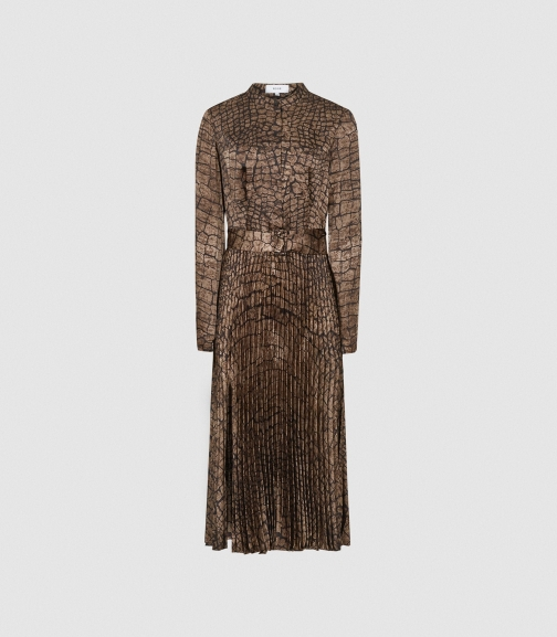 Reiss Avianna - Croc Print Brown, Womens, Size 10 Midi Dress