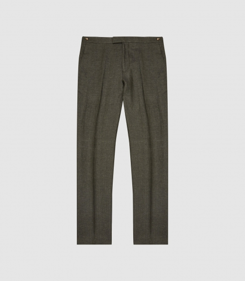 Reiss Shock - Linen Slim-fit Trousers Green, Mens, Size 28 Trouser