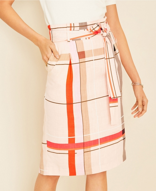 Ann Taylor Plaid Tie Waist Pencil Skirt
