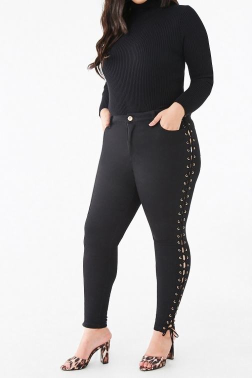 Forever21 Plus Forever 21 Plus Size Lace-Up Skinny Pants , Black Trouser