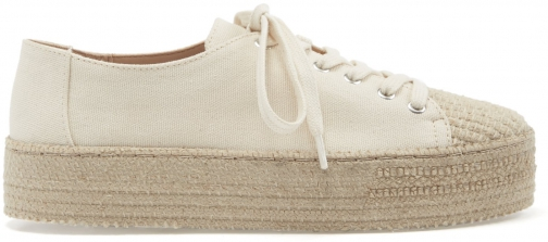 Schutz Shoes Ully Sneaker - 5 Cru Ivory Canvas Fabric Shoes