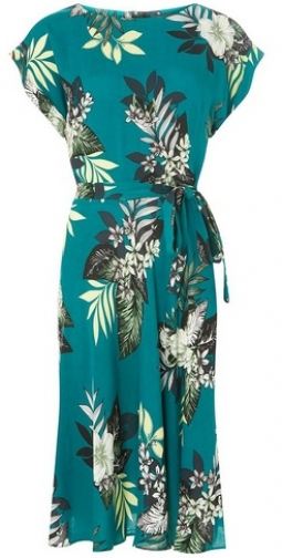 Dorothy Perkins Womens **Tall Green Tropical Print Fit And Flare - Green, Green Dress