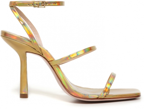 Schutz Shoes Nita Sandal - 5 Gold Holographic Metallic Leather Sandals
