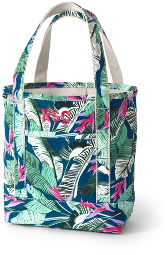 Lands' End Medium Print Open Top Canvas Bag - Lands' End - Blue Tote
