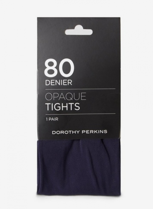 Dorothy Perkins Womens 1 Pack Navy 80 Denier - Blue, Blue Tight