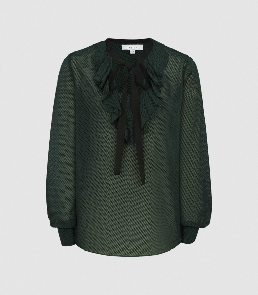 Reiss Mackenzie - Textured With Bow Detail Green, Womens, Size 4 Blouse