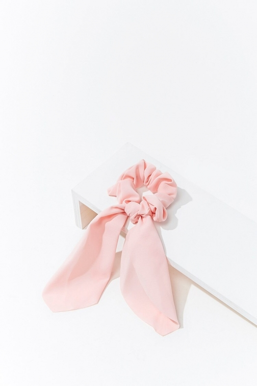 Forever21 Forever 21 Ruffled Bow Scrunchie , Light Pink Headwear