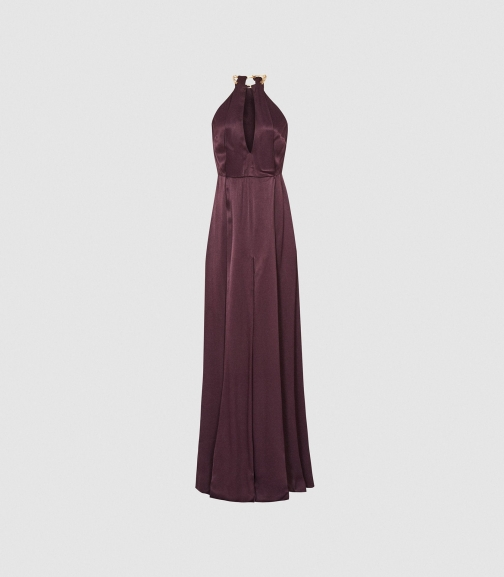 Reiss Anne - Chain Detail Berry, Womens, Size 4 Maxi Dress