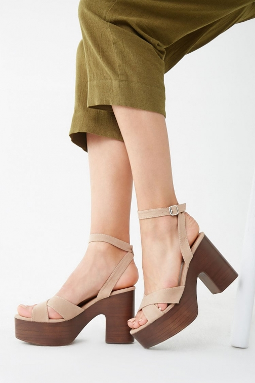 Forever21 Forever 21 Faux Suede Block Heels , Nude Shoes