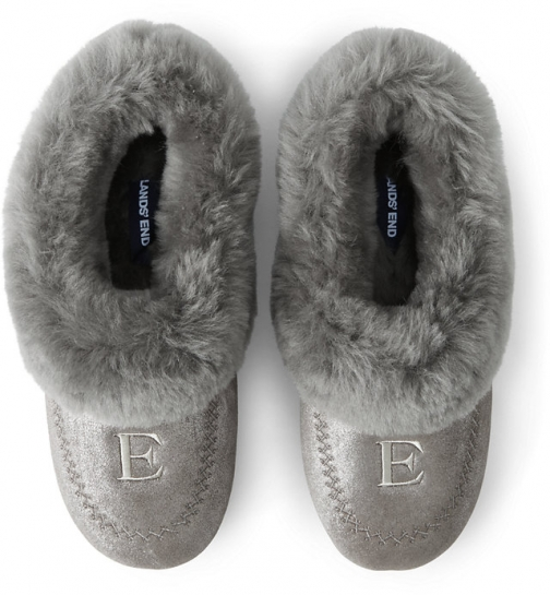 Lands' End Women's Suede Leather Shearling Fur House - Lands' End - Gray - 6 Slippers