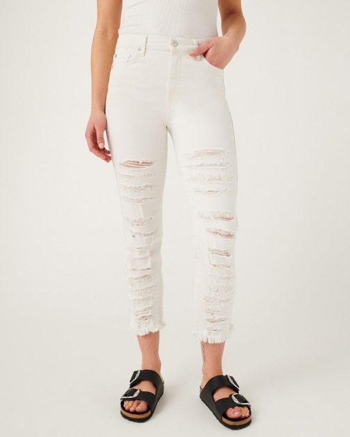 7 For All Mankind Womens High Waist Cropped Straight With Shredded Destroy Stone Size: 26 Trouser