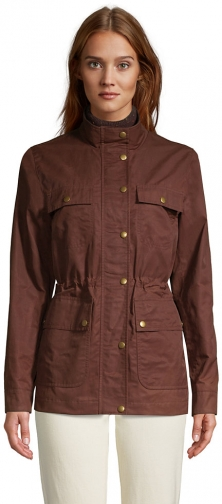 Lands' End Women's Waxed Water Resistant Utility Cotton - Lands' End - Brown - XS Jacket