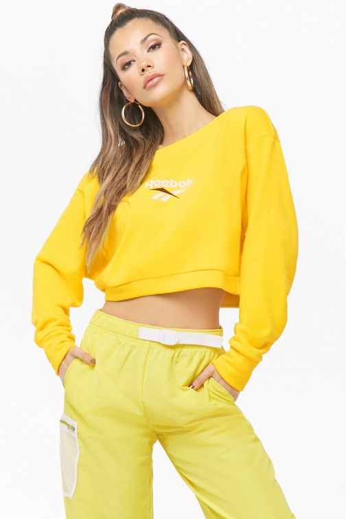 Forever21 Forever 21 Reebok Classic Cropped Yellow Sweatshirt