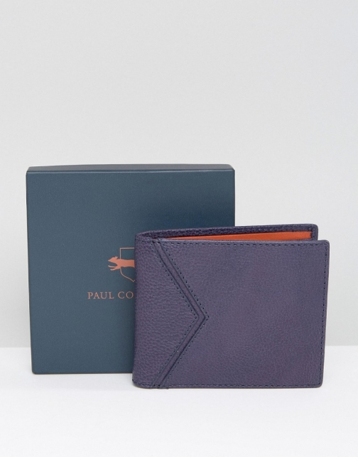 Paul Costelloe Leather Billfold Navy With Orange Contrast Wallet