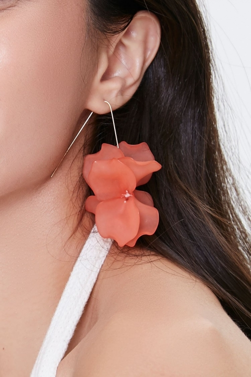 Forever21 Forever 21 Floral Wire Drop , Coral/gold Earring