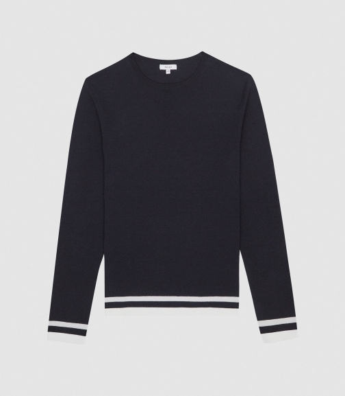 Reiss Handsome - Tipped Crew Neck Navy/White, Mens, Size XS Jumper