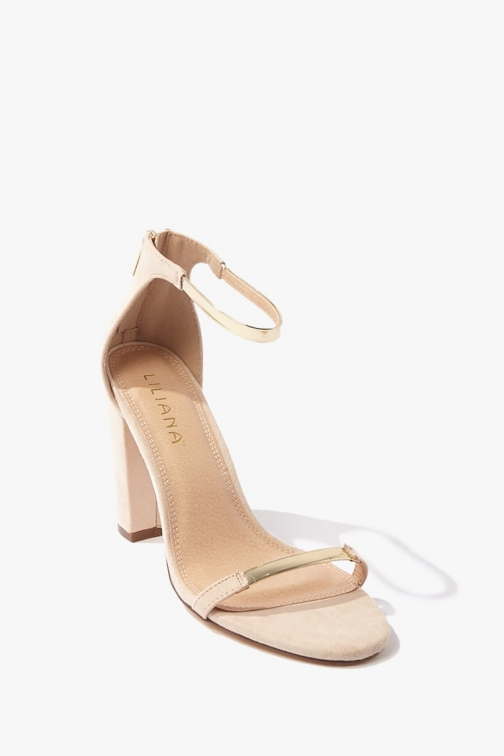 Forever21 Forever 21 Faux Suede Ankle-Strap Heels , Nude/multi Shoes