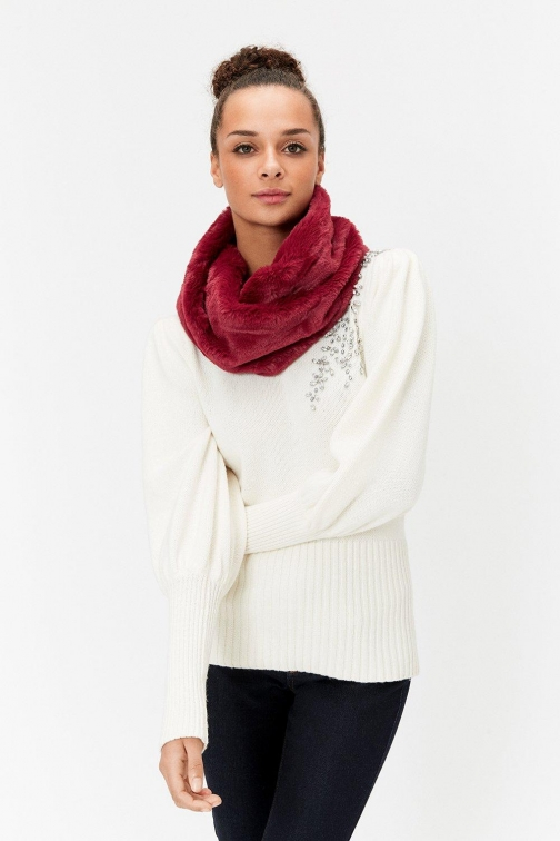 Coast Faux-Fur Snood Red, Red Scarf