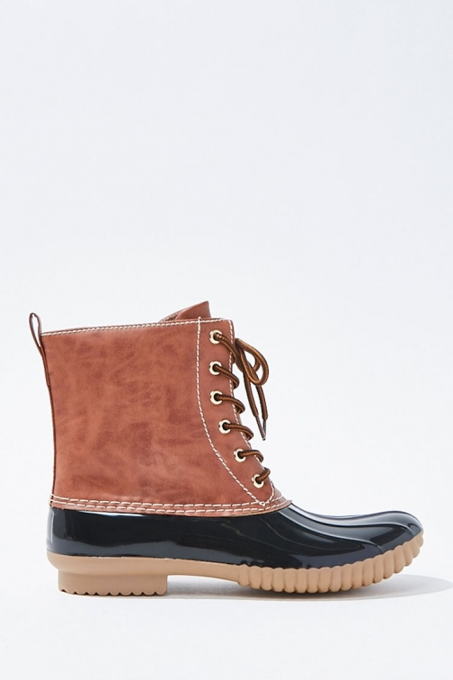 Forever21 Forever 21 Faux Leather Lace-Up Duck , Brown/black Boot