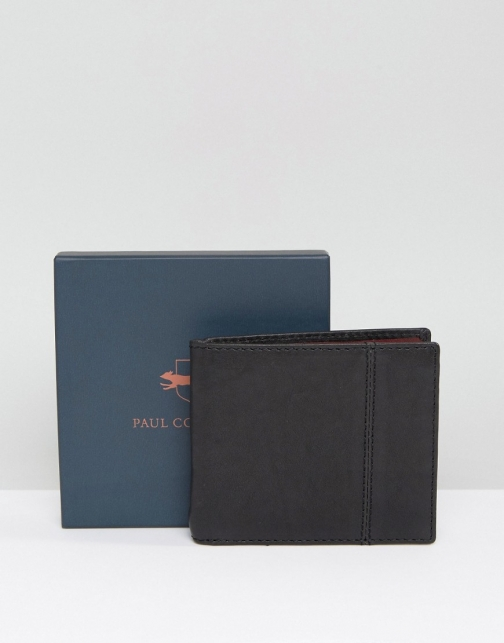 Paul Costelloe Leather Billfold Black With Mustard Contrast Wallet