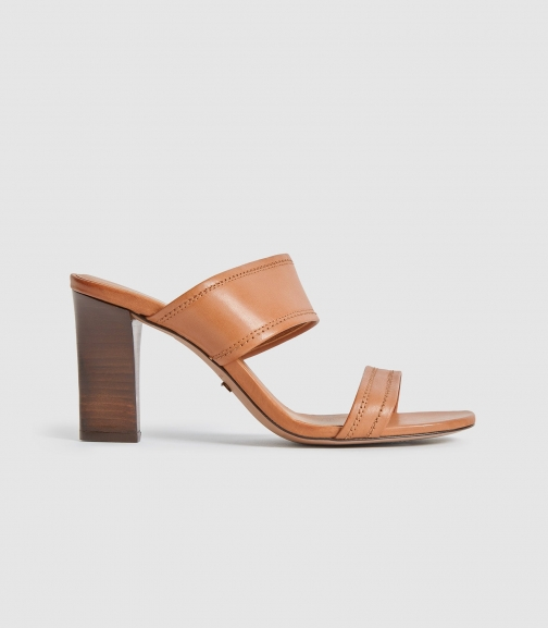 Reiss Freya - Leather High Heeled Mules Tan, Womens, Size 5 Shoes