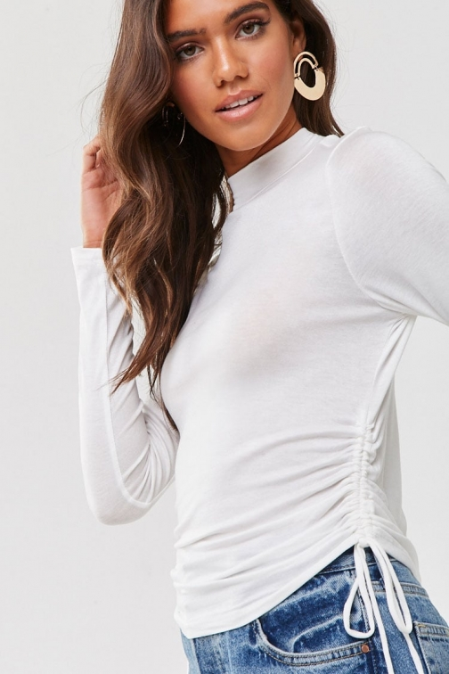 Forever21 Forever 21 Ruched Turtleneck , White Top