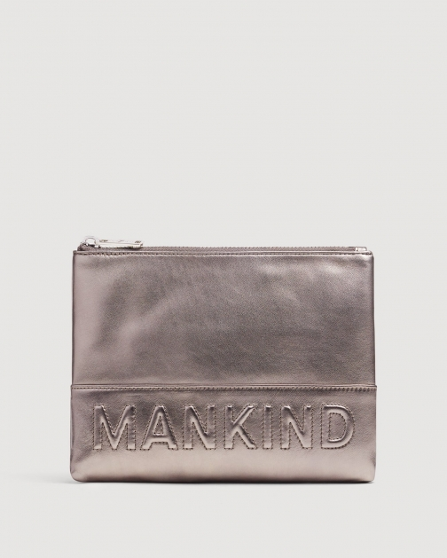 7 For All Mankind Small Mankind Metal Pewter Clutch