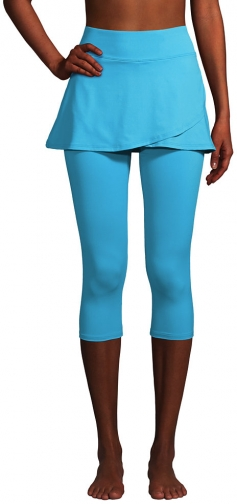 Lands' End Women's Chlorine Resistant High Waisted Modest Swim With UPF 50 Sun Protection - Lands' End - Blue - S Legging