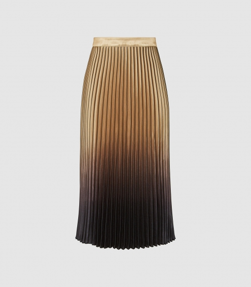 Reiss Marlene - Ombre Pleated GOLD/BLACK, Womens, Size 4 Midi Skirt