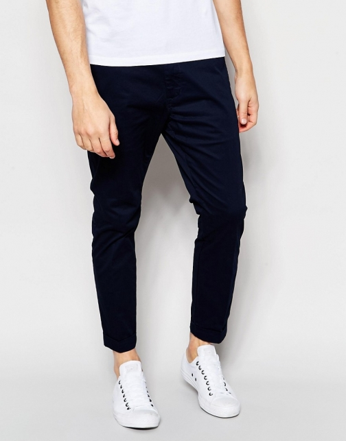 Dr Denim Slim Tapered Diggler With Turn Up Deep Blue Chino